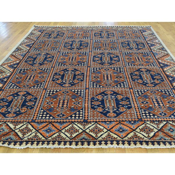 One-of-a-Kind Beatrix Afghan Block Design Hand-Knotted Brown Wool Area Rug by Isabelline