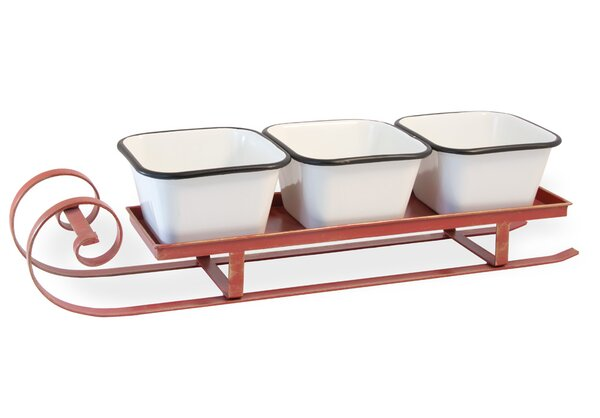 Ferland Sleigh 4 Piece Chip and Dip Server Set by