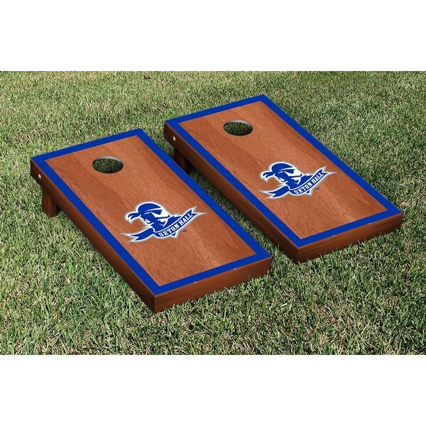 NCAA Rosewood Stained Border Wooden Cornhole Game Set by Victory Tailgate