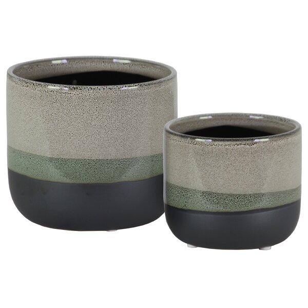 Melodi Round 2-Piece Stoneware Pot Planter Set by World Menagerie