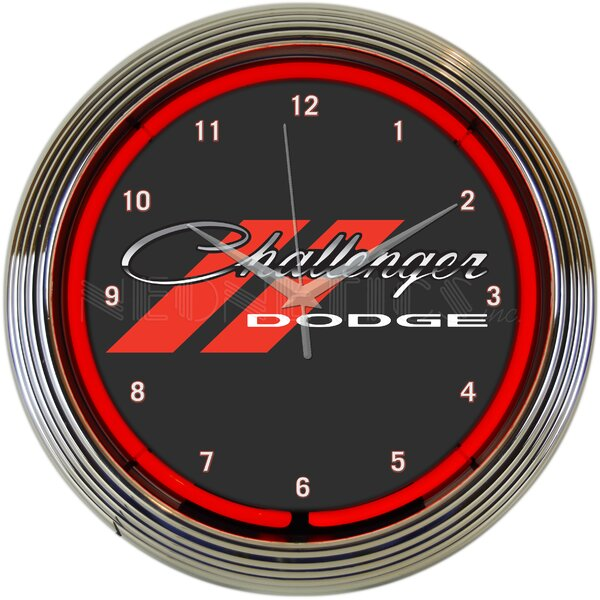 Dodge Challenger Neon 15 Wall Clock by Neonetics