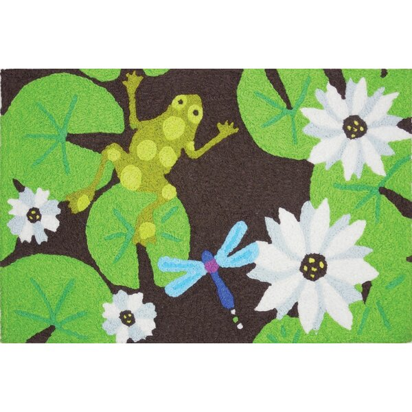 Beames Lily Pad Frog Hand-Tufted Green/Brown Indoor/Outdoor Area Rug by Winston Porter
