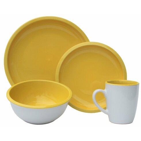 Melange Contempo Cantina 2-Tone Stoneware 16 Piece Dinnerware Set ...