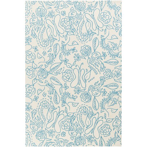 Harley Hand Woven Wool Sky Blue Area Rug by Harriet Bee