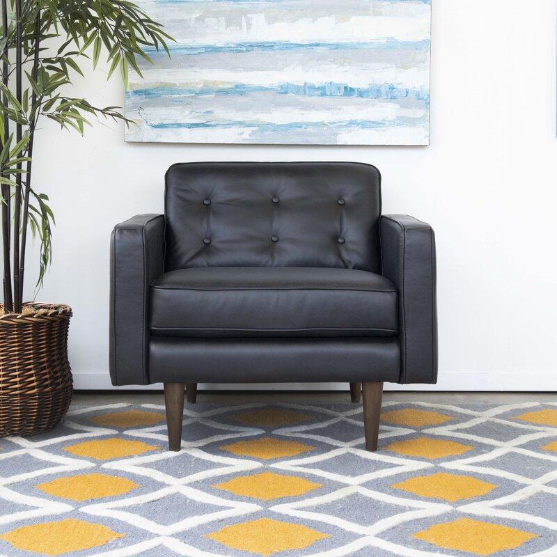 Corrigan Studio Aron 34 W Tufted Full Grain Leather Armchair Wayfair