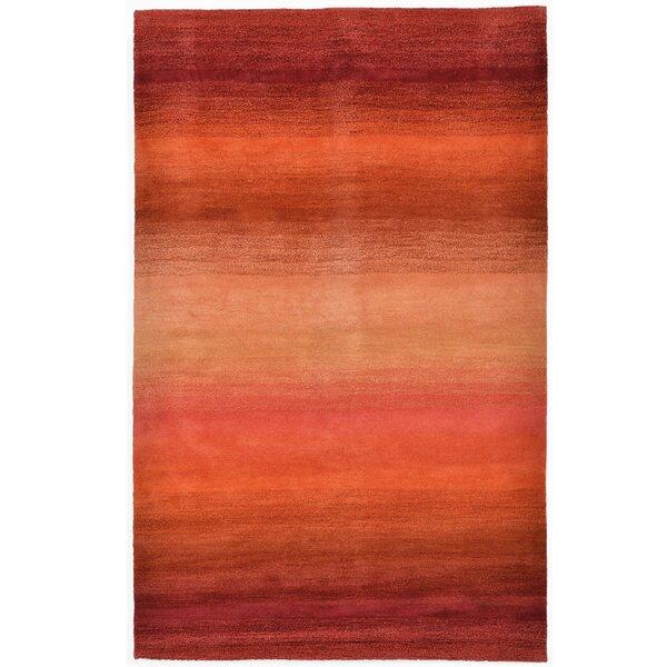 Belding Stripes Hand-Woven Wool Red/Orange Area Rug by Brayden Studio