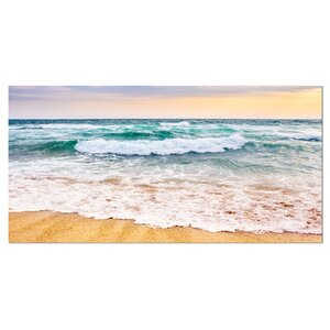 Foaming Waves Splashing the Sand Seashore Photographic Print on Wrapped Canvas by Design Art