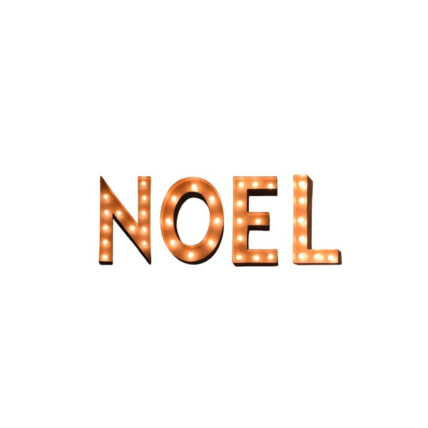 Noel Holiday Typography Steel Marquee Light by The Holiday Aisle