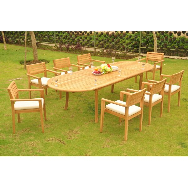 Goettingen Luxurious 9 Piece Teak Dining Set by Rosecliff Heights