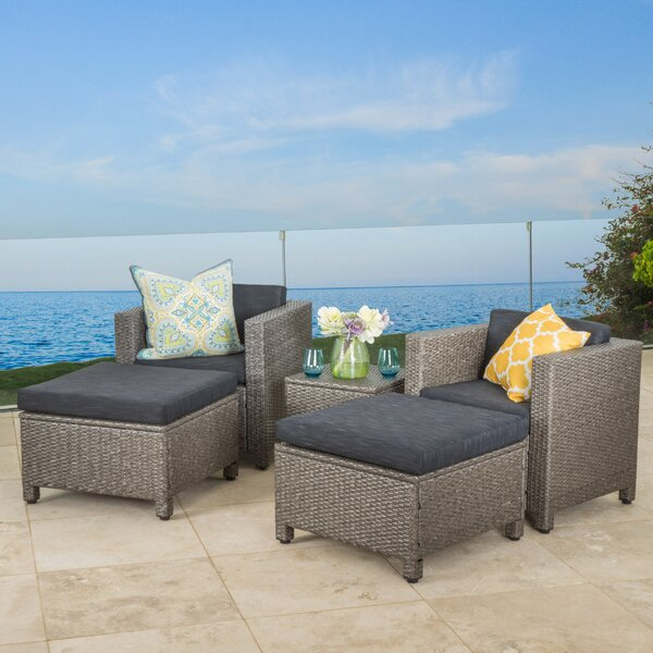 Furst 5 Piece Rattan Seating Group with Cushions Wade Logan W001650555