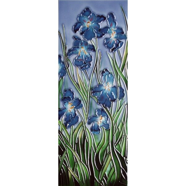 6 x 16 Ceramic Irises (Vertical) Decorative Mural Tile by Continental Art Center