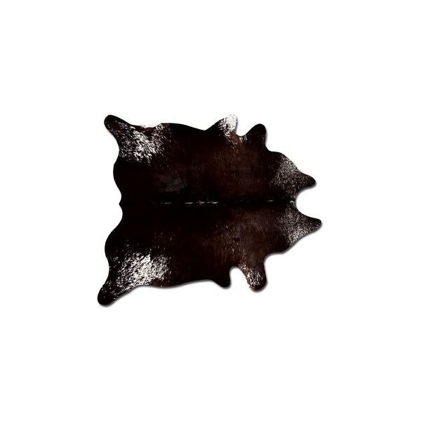 Abhinav Hand-Woven Cowhide Pepper Chocolate/White Area Rug  by 17 Stories