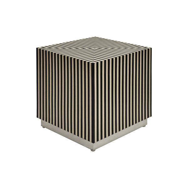 Vertical Stripe Square Cube Ottoman by Worlds Away