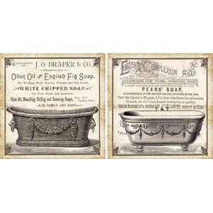 'Old English Tub' 2 Piece Graphic Art Set by Lark Manor