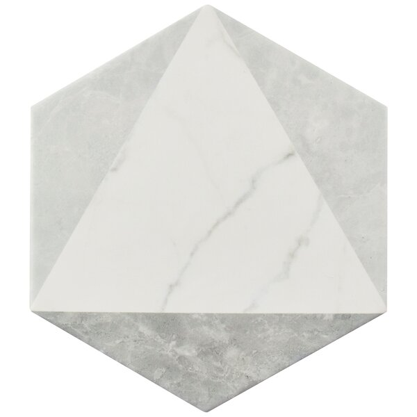 Karra 7 x 8 Porcelain Field Tile in White/Gray by
