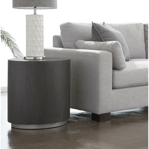 Thad Wood and Metal Round End Table by Orren Ellis