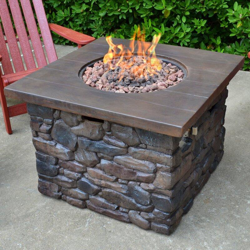 Captivating Yosemite Faux Wood/Stone Propane Fire Pit Table