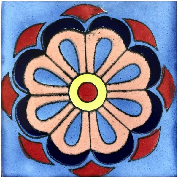 Daisy Flower 6 x 6 Ceramic Talavera Decorative Accent Tile (Set of 45) by Rustico Tile & Stone