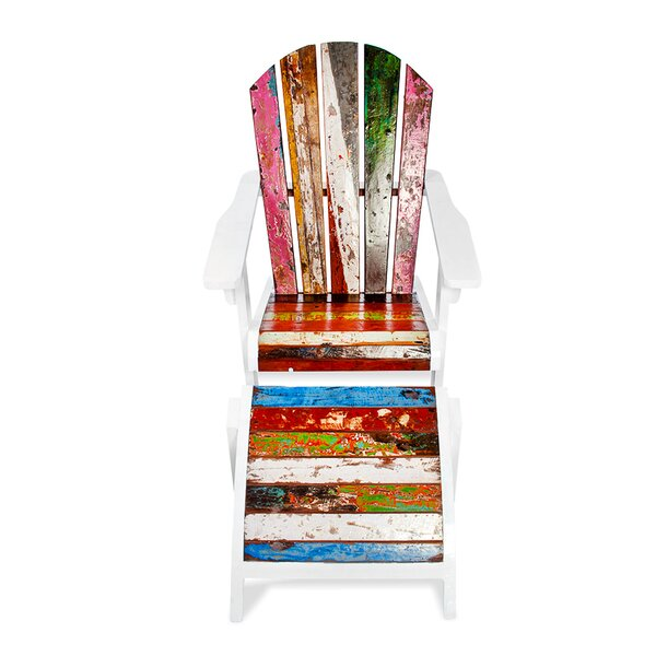 Key Largo Teak Adirondack Chair with Ottoman by EcoChic Lifestyles