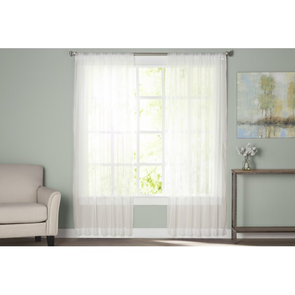 Wayfair Basics Solid Sheer Rod Pocket Curtain Panels (Set of 2) by Wayfair Basics™