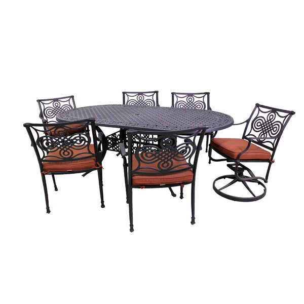 Laux 7 Piece Dining Set with Sunbrella Cushions