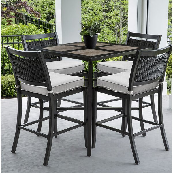 Dreketi Square 5 Piece Bar Height Dining Set with Sunbrella Cushions by Red Barrel Studio