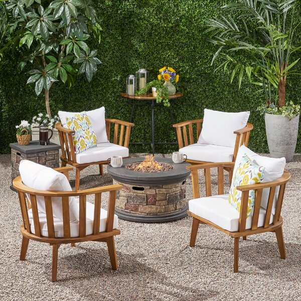 Hailey Outdoor Multiple Chairs Seating Group with Cushion by Rosecliff Heights