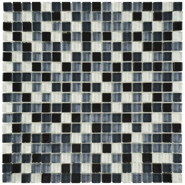 Sierra 0.625 x 0.625 Glass Mosaic Tile in Black/White by EliteTile