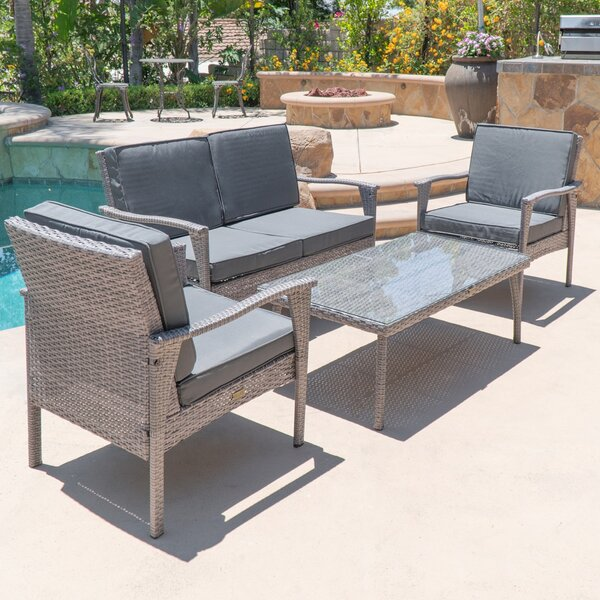 Stockwood 4 Piece Rattan Conversation Set with Sunbrella Cushions by Bay Isle Home
