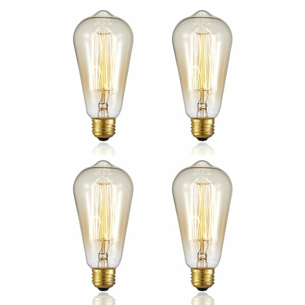 Edison Dimmable Squirrel Cage Classic Vintage Filament Light Bulb (Set of 4) by OHR Lighting