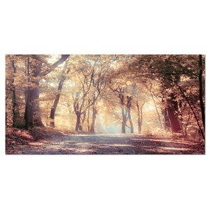'Golden Autumn Beautiful Forest' Photographic Print on Wrapped Canvas by Design Art