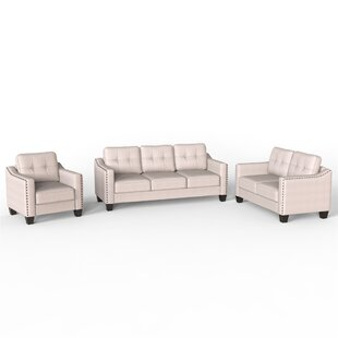3 Piece Living Room Set, 1 Sofa, 1 Loveseat And 1 Armchair With Rivet On Arm Tufted Back Cushions Beige And Gold by Red Barrel Studio®