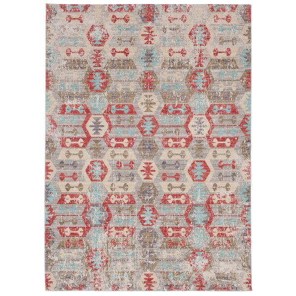 Tiburon Beige/Red/Blue Area Rug by Bungalow Rose