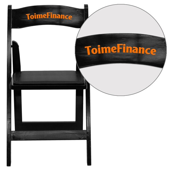 Hercules Series Personalized Wood Folding Chair with Vinyl Padded Seat by Flash Furniture