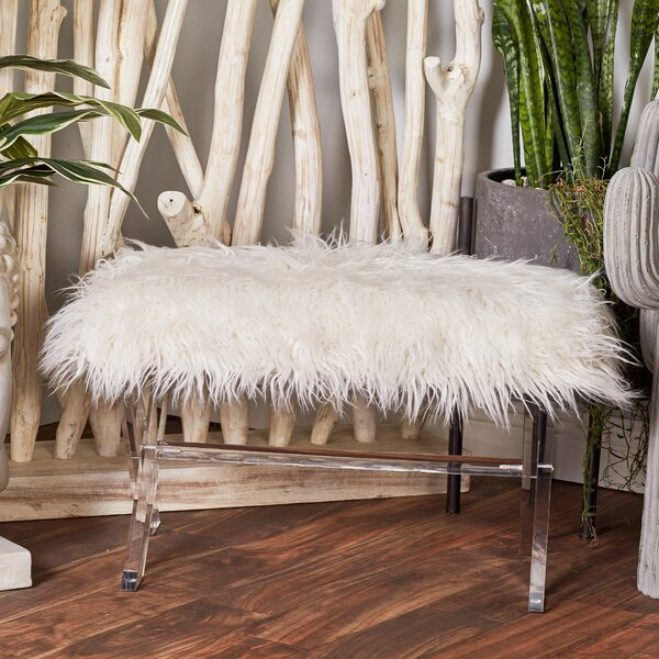 Acrylic Faux Fur Vanity Stool by Cole & Grey