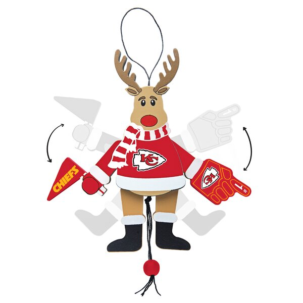 NFL Wooden Cheering Reindeer Ornament by Topperscot