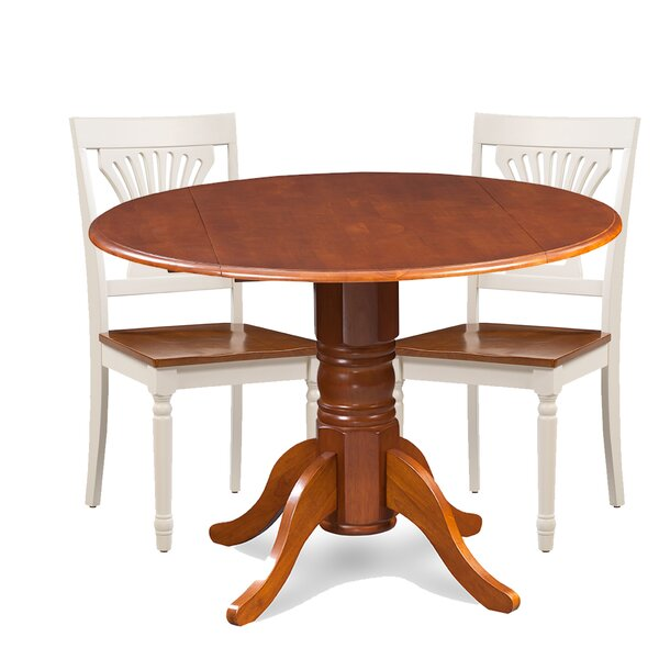 Brenton 3 Piece Drop Leaf Breakfast Nook Solid Wood Dining Set by Charlton Home