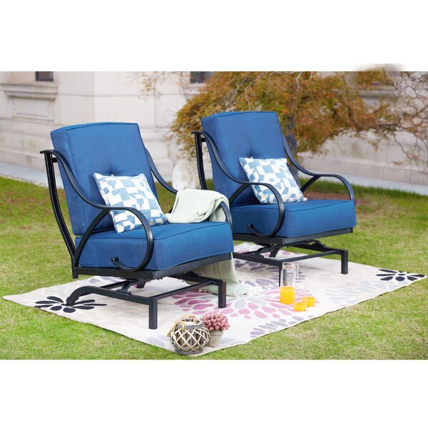 Reid Outdoor Rocking Motion Patio Chair with Cushions (Set of 2) by Alcott Hill