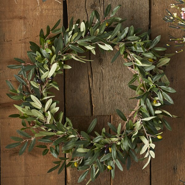 20 Faux Olive Branch Wreath by Charlton Home