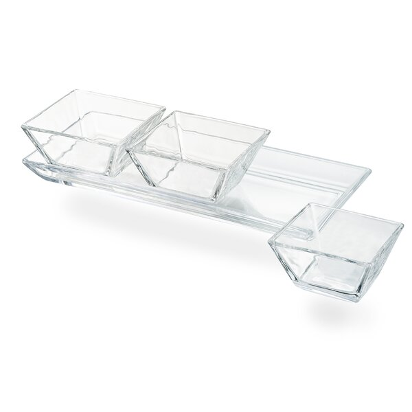 Jenkinsburg 3-Section Glass Tray With 3 SQ. Bowl by Charlton Home