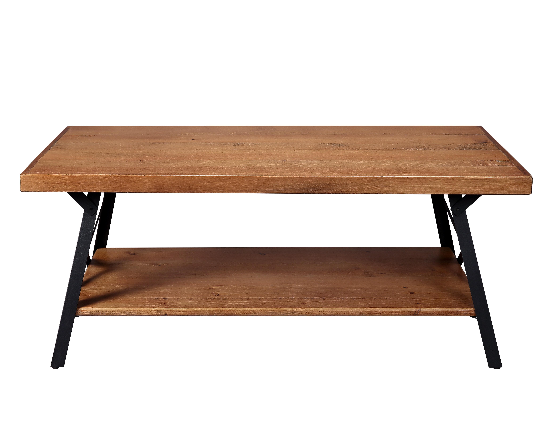 Gracie Oaks U Style 43 Metal Legs Rustic Coffee Table Solid Wood Tabletop Wayfair Ca