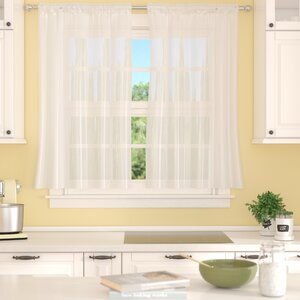 Forrester Solid Sheer Rod Pocket Curtain Panels (Set of 2)