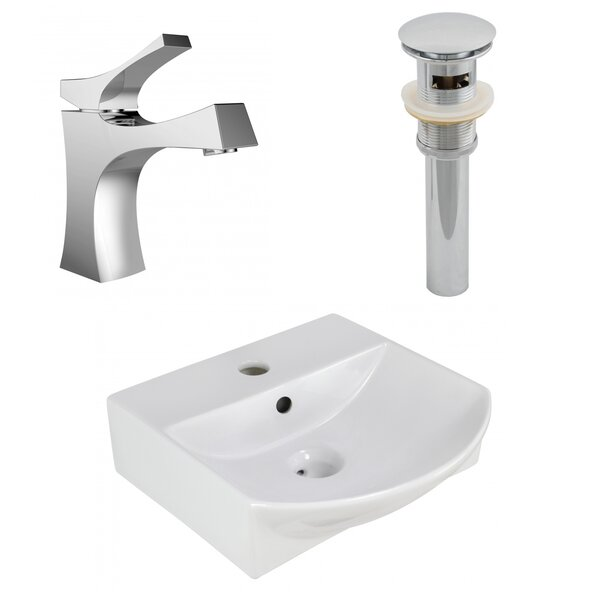 Ceramic 14 Wall Mount Bathroom Sink with Overflow and Faucet