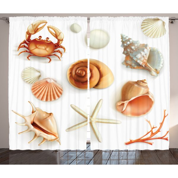 Nautical Crabs Room Darkening Rod Pocket Curtain Panels (Set of 2) by East Urban Home