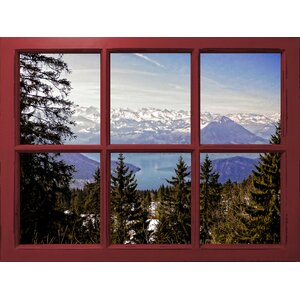 Lake Luzern Mountain Window View' Graphic Art on Wrapped Canvas by Graffitee Studios