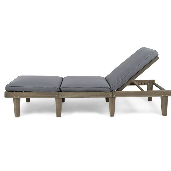 Poindexter Outdoor Chaise Lounge with Cushion by Gracie Oaks Gracie Oaks