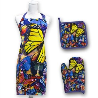 Butterfly Frenzy 3 Piece Apron Set by August Grove