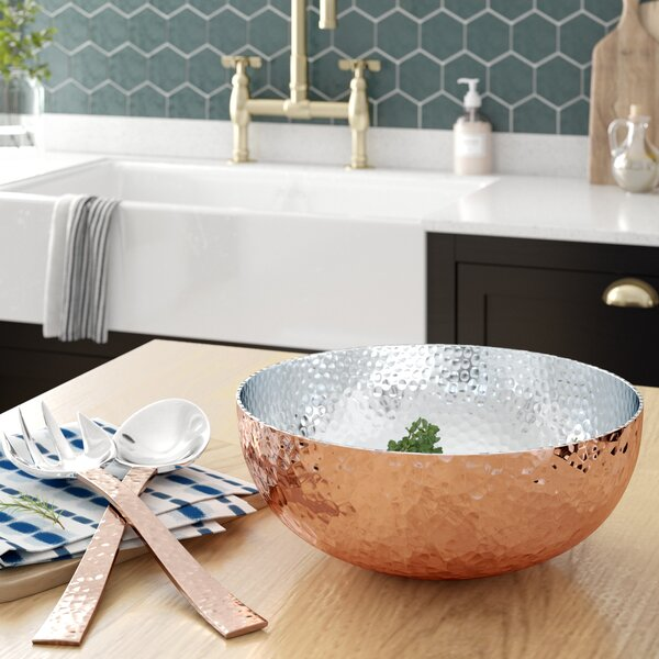 Bowdon Hammered Salad Bowl with Server by Mint Pantry