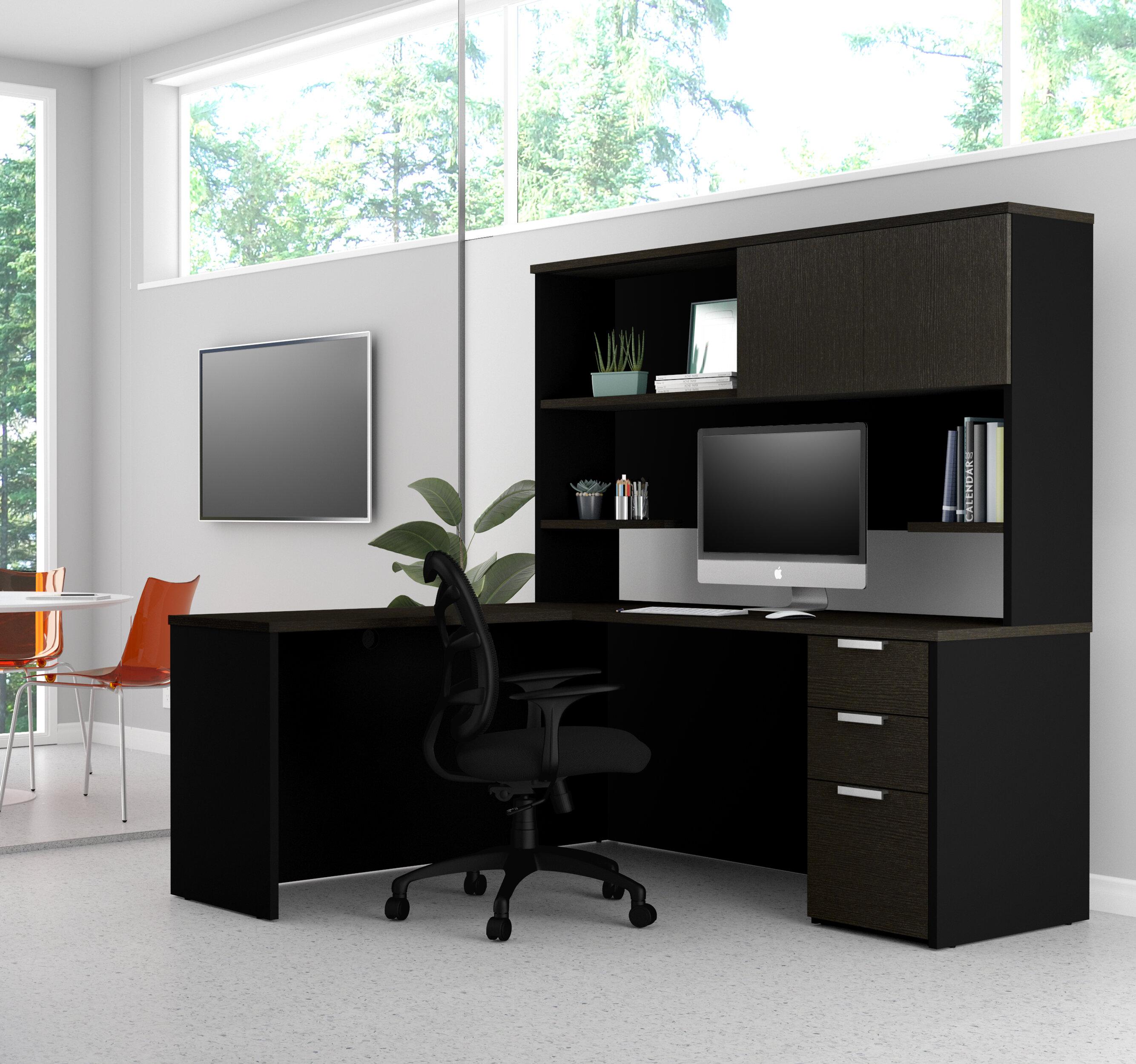 on sale 864a6 25fb5 Kadian Modern Reversible L-Shape Corner Desk with Hutch