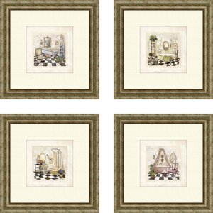 'Bath Salon de Bain' Framed Painting Print (Set of 4) by Lark Manor